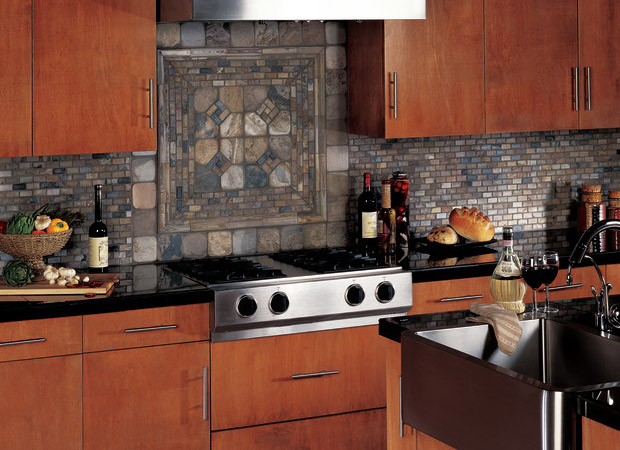 Stone tile backsplash from About Floors n More in Jacksonville, FL