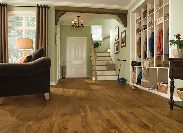 Wood-look vinyl plank flooring in a Charlotte, NC home