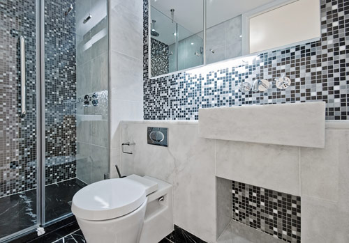 Wall tile installation in an Evansville, IN bathroom