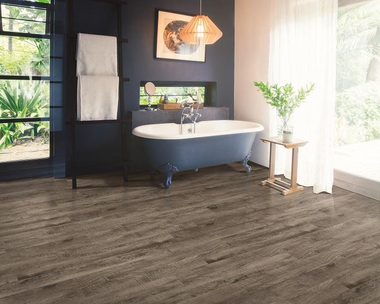 Luxury vinyl plank flooring in a Maple Ridge, BC master bathroom