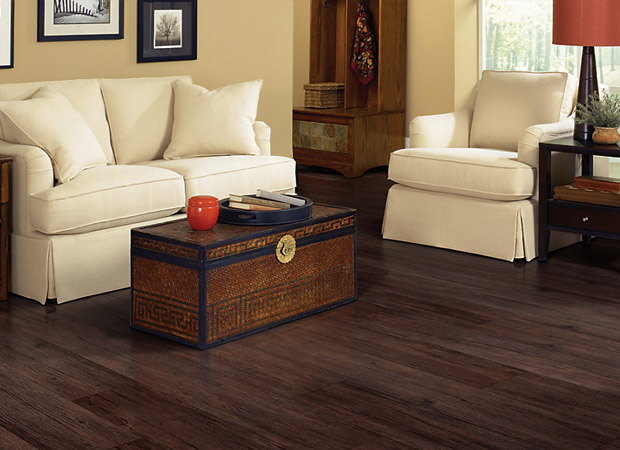 Dark vinyl plank flooring in a Maple Ridge, BC home