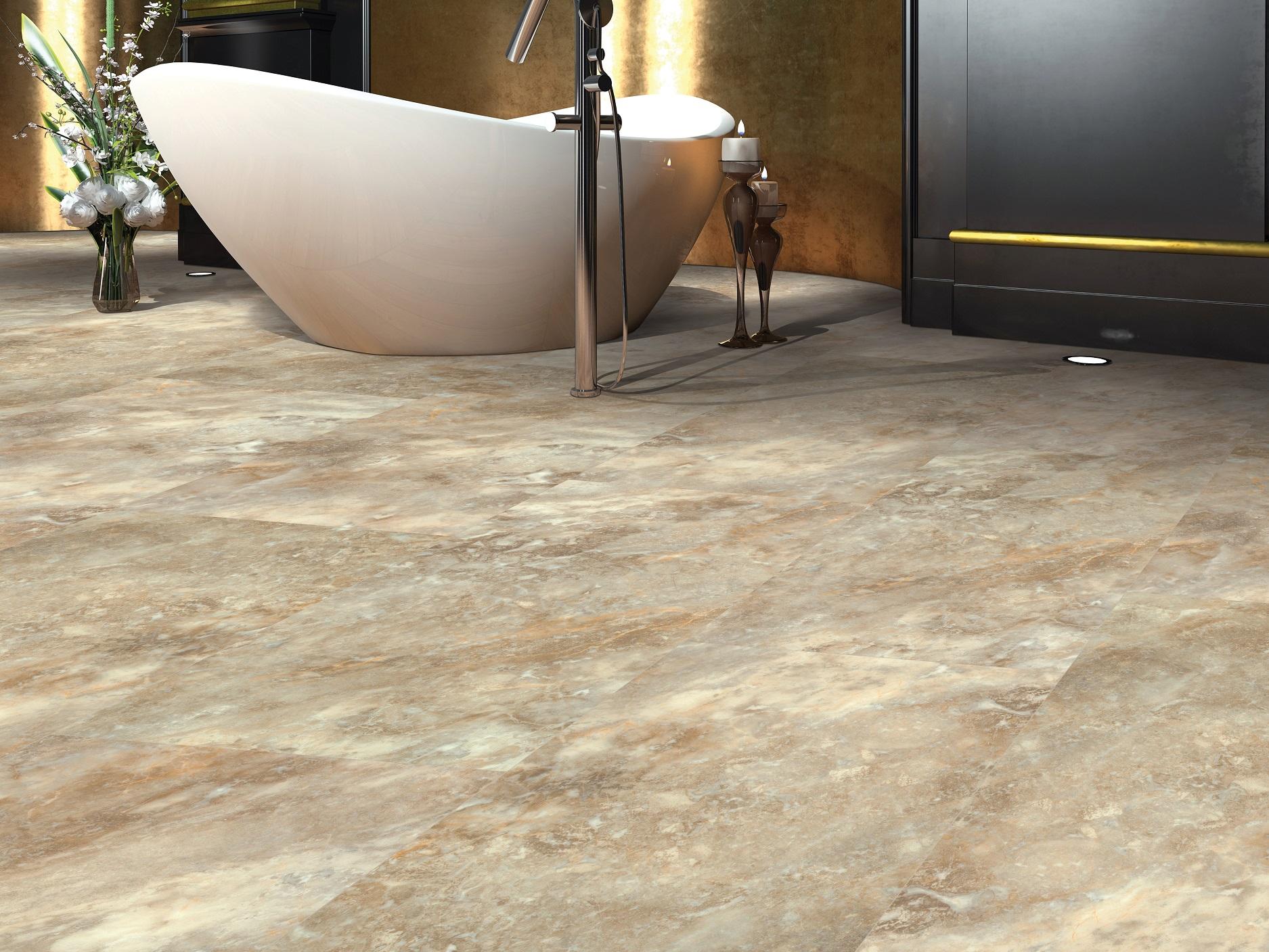 Natural stone look vinyl flooring in a Maple Ridge, BC master bathroom