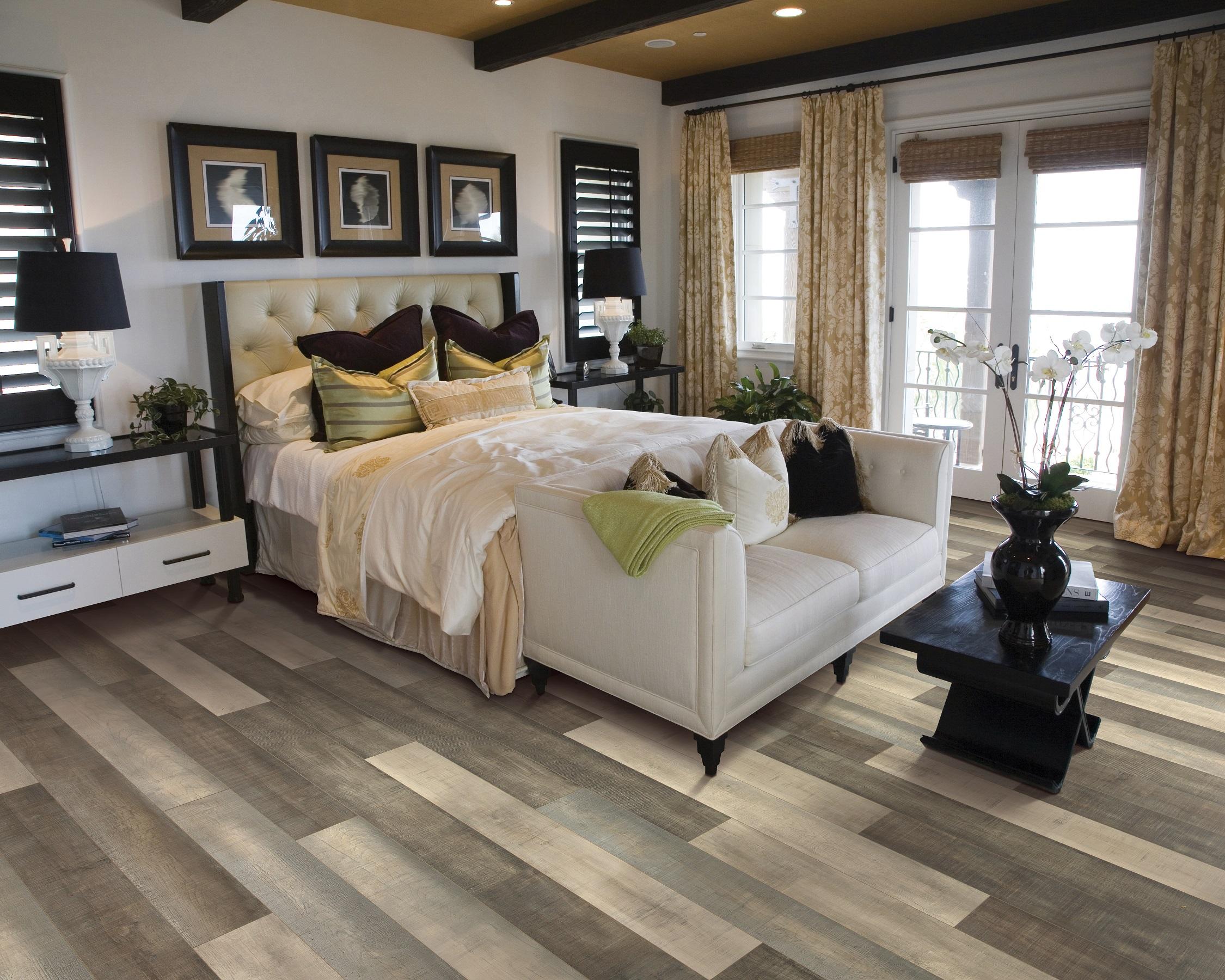 Durable laminate flooring in a Maple Ridge, BC master bedroom