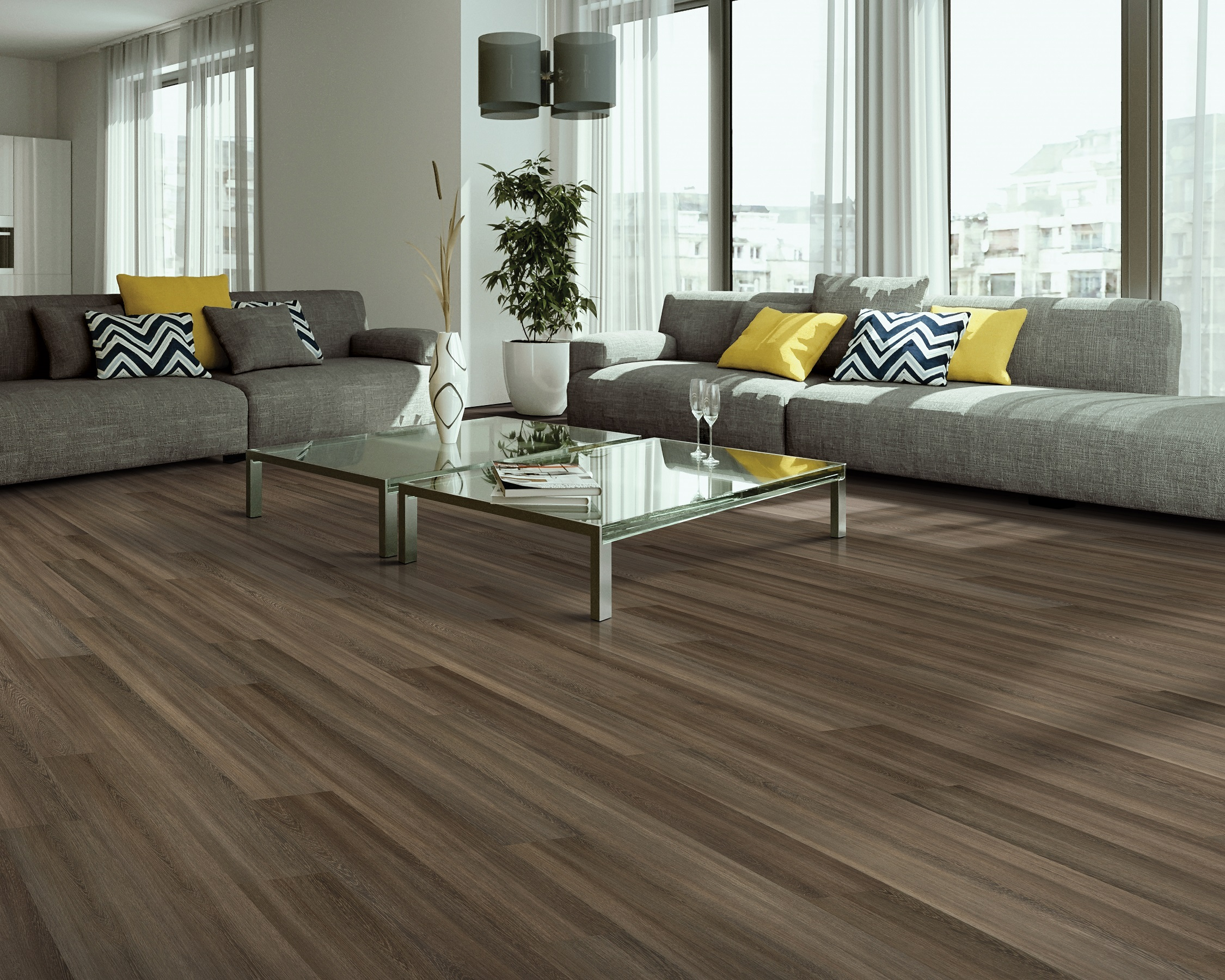 Wood-look vinyl plank flooring in a Fort Myers, FL home