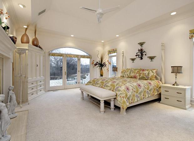 Soft new carpet flooring installation in a Portland, OR master bedroom