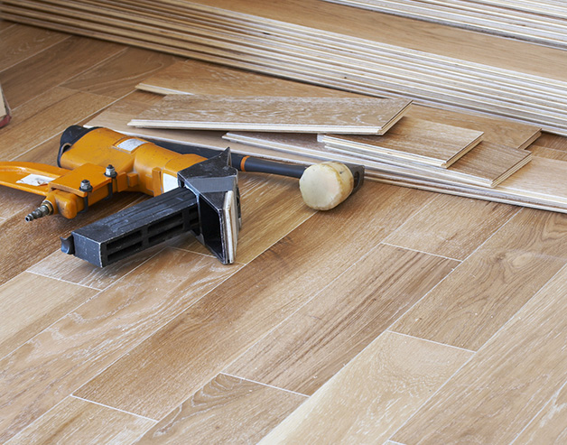 Hardwood flooring installation in a Portland, OR home
