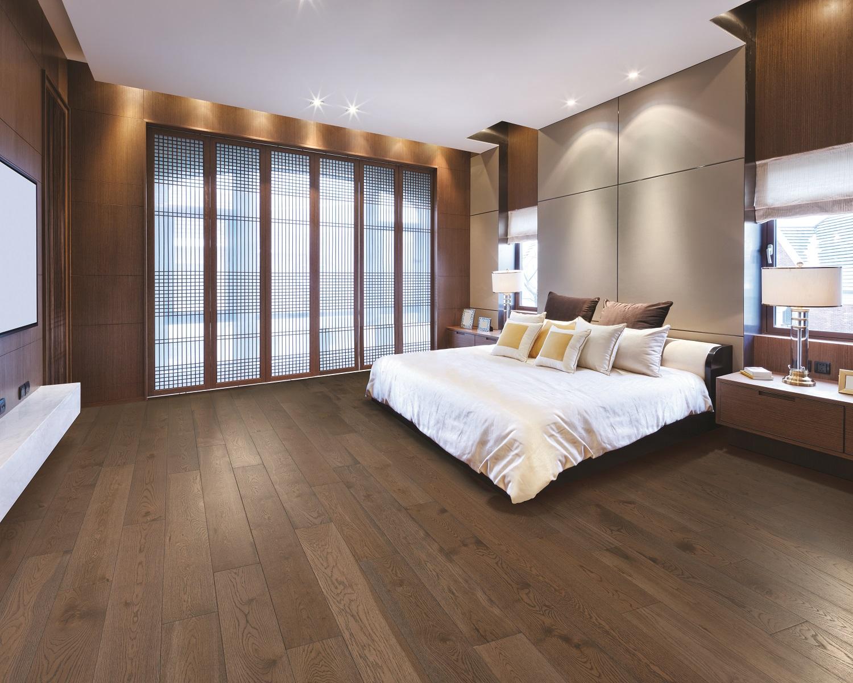 Hardwood flooring in a Portland, OR master bedroom