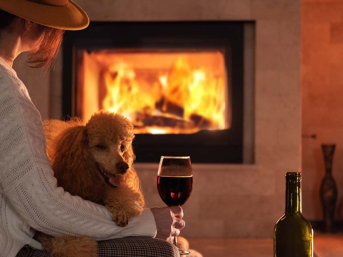 image of a woman with her dog in front of a fireplace