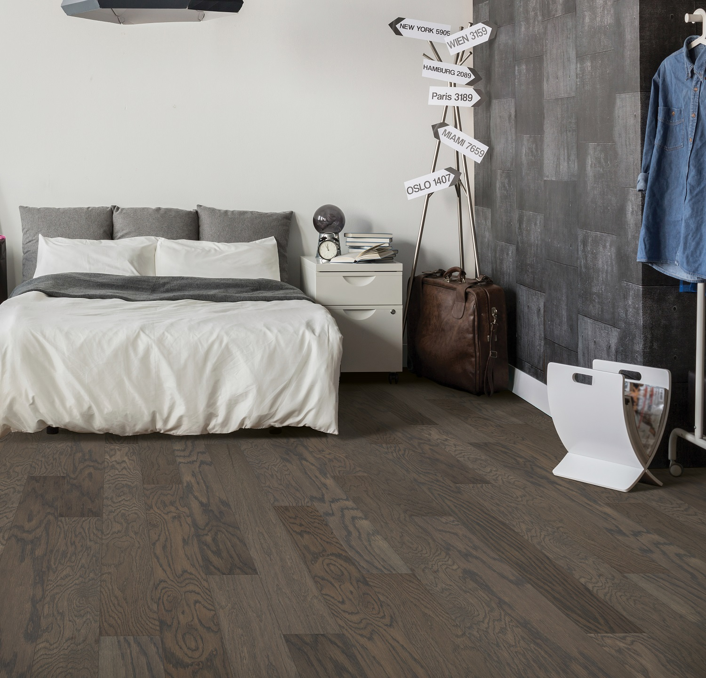 Engineered hardwood flooring in a Keller, TX finished basement