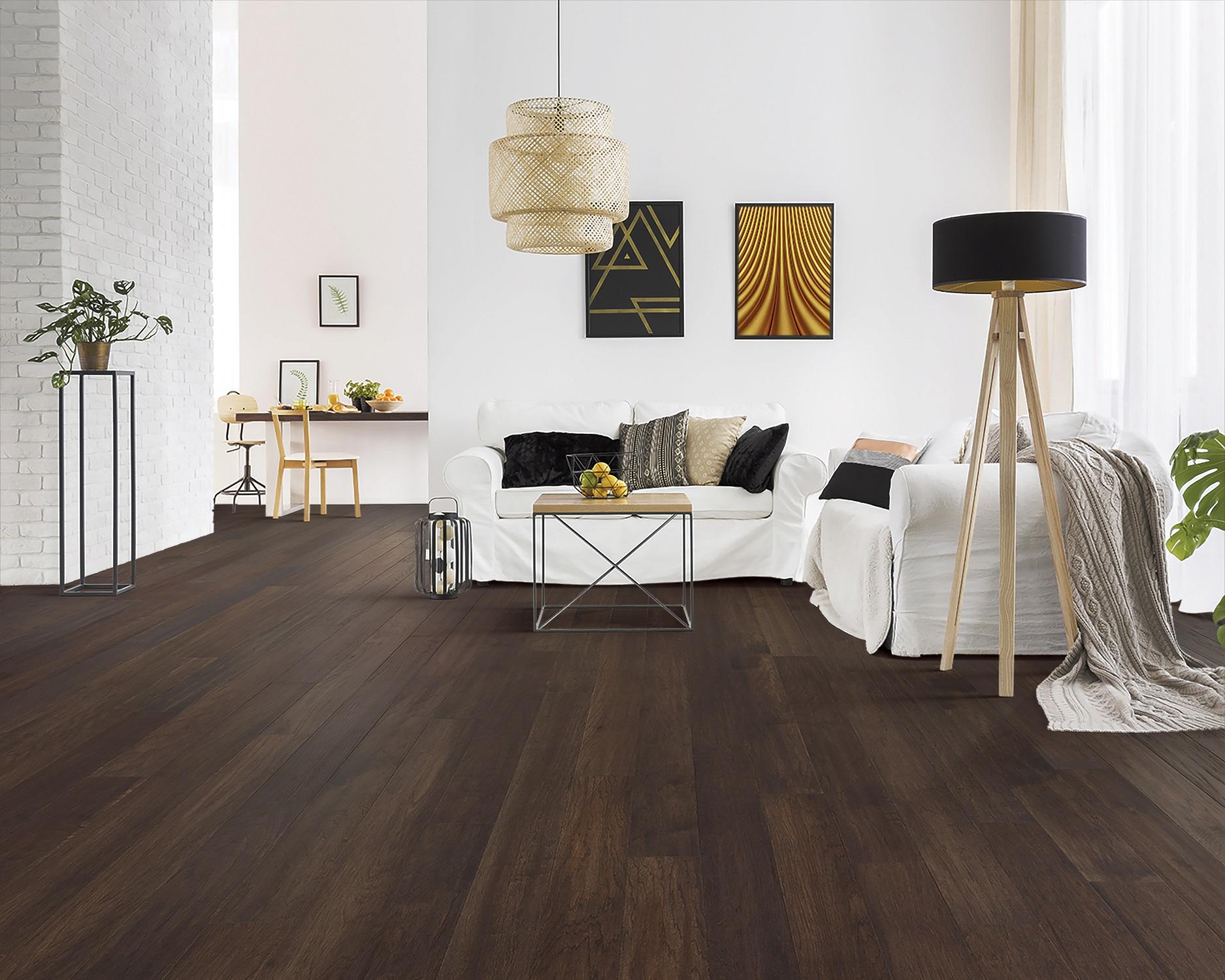 Dark tone hardwood flooring in a Keller, TX living room