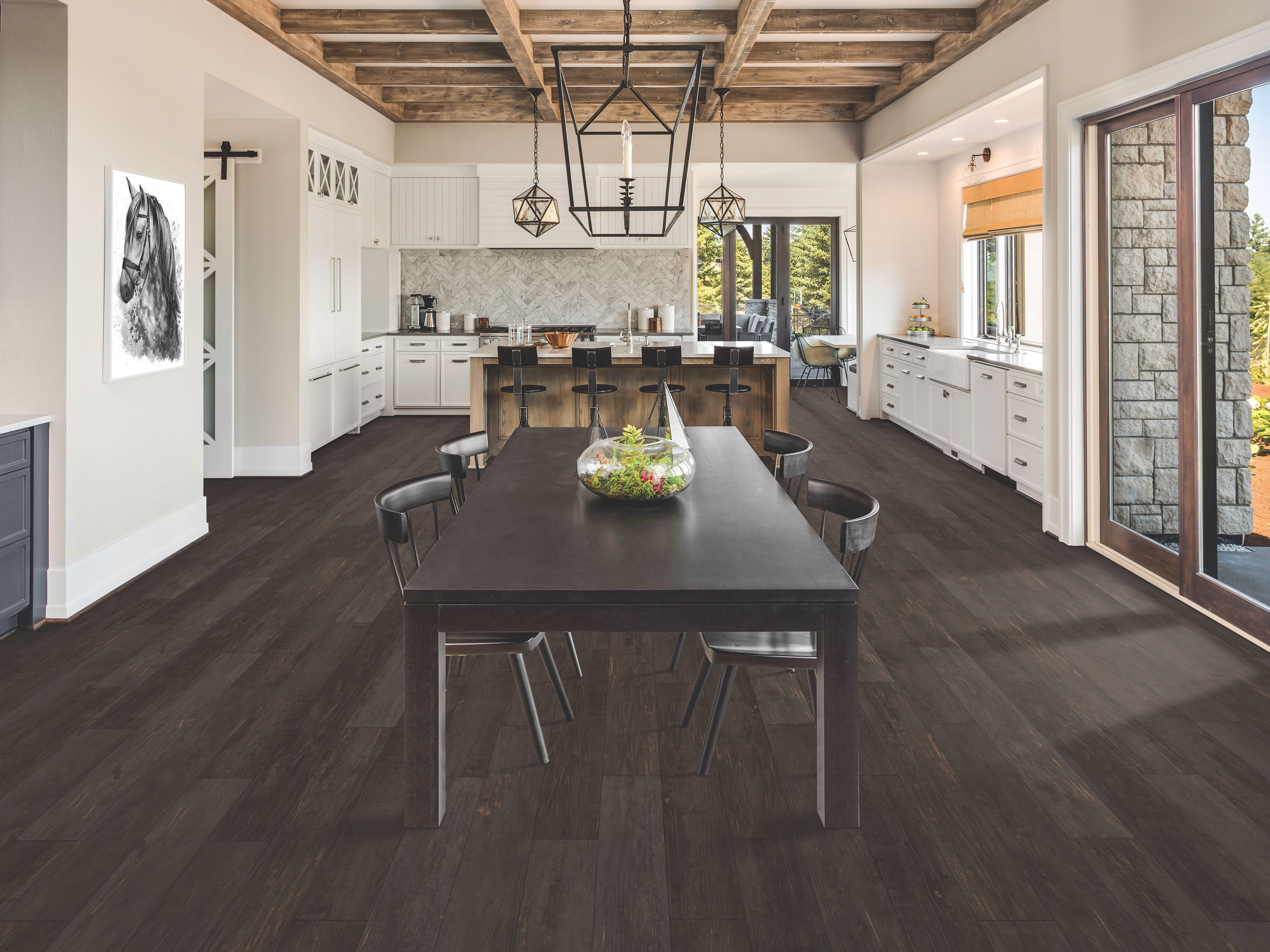 Omaha, NE kitchen with dark tone waterproof flooring