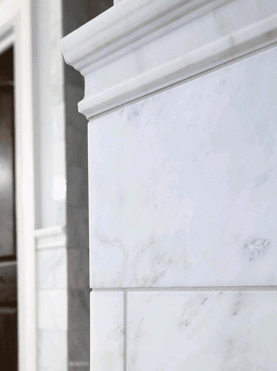 Marble backsplash in Wheaton IL by Desitter Flooring