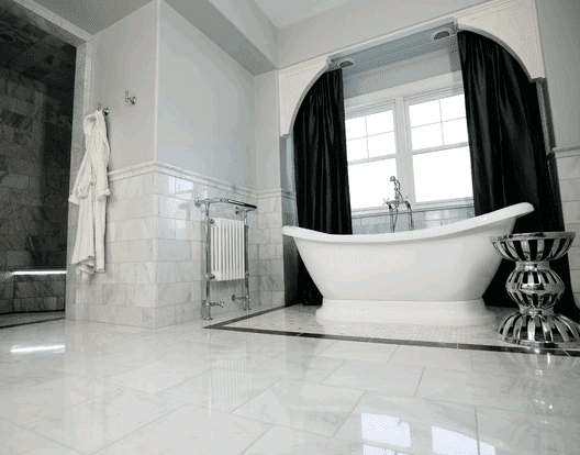 Custom marble bathroom in Lombard IL by Desitter Flooring