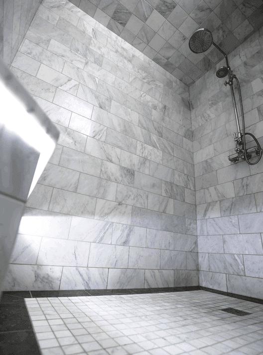 Custom marble shower in Burr Ridge IL by Desitter Flooring