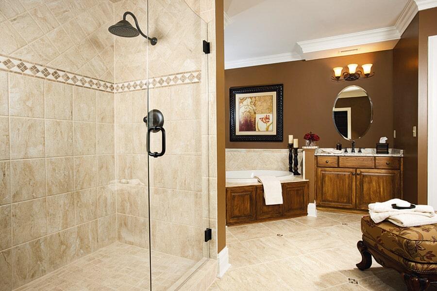 Custom stone bathroom in Oceanside CA from Action Carpet & Floor Decor