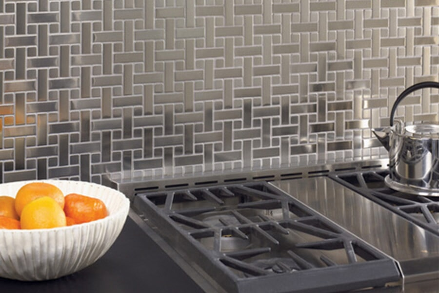 Modern metal tile kitchen backsplash in Markato MN from Independent Paint & Flooring