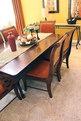 Traditional dining room with carpet near Santa Luz CA by Metro Flooring