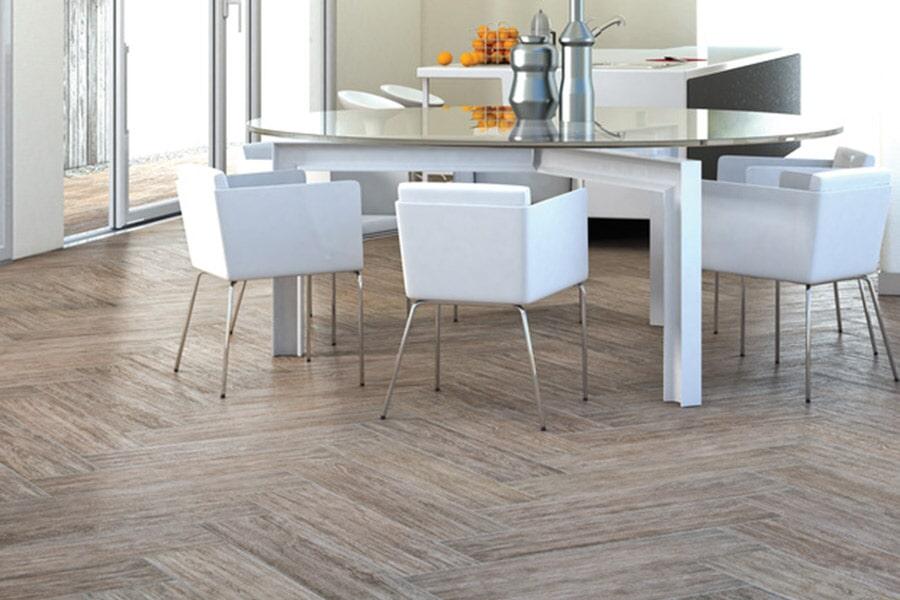 Herringbone tile floor installation in Crestview FL from Best Buy Carpet