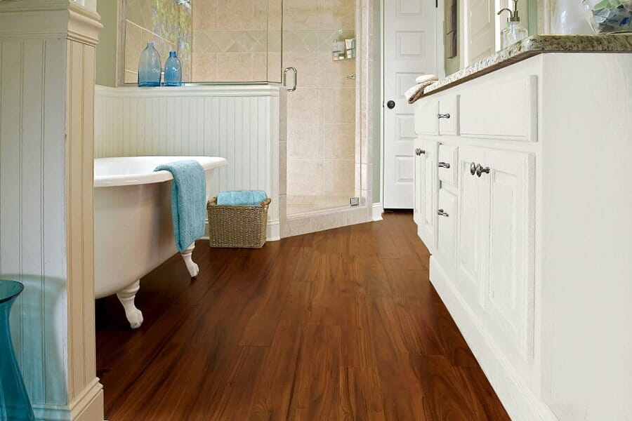 Luxury Vinyl bathroom floors near Durham, NC at Bruce's Carpet