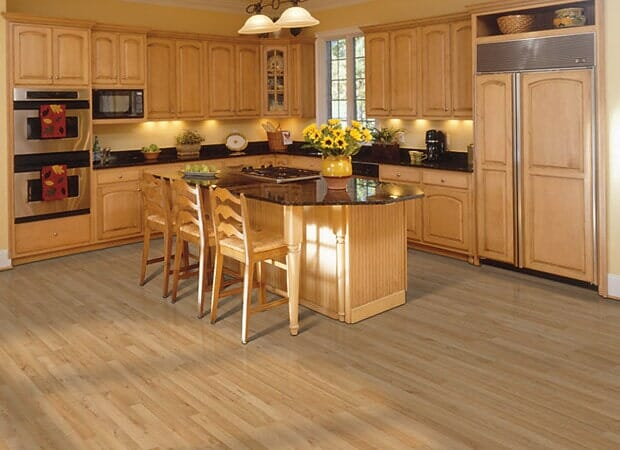 Wood kitchen floors in Fayetteville NC from Carolina Carpet and Floors