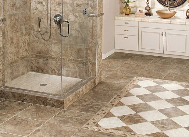Deluxe tile in the shower in Fayetteville NC from Carolina Carpet and Floors