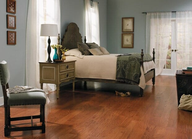 Hardwood bedroom floors in Fayetteville NC from Carolina Carpet and Floors