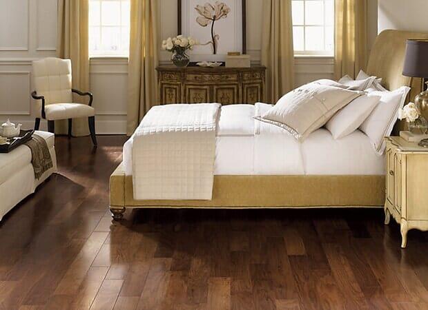 Bedroom hardwood floors in Eastover NC from Carolina Carpet and Floors