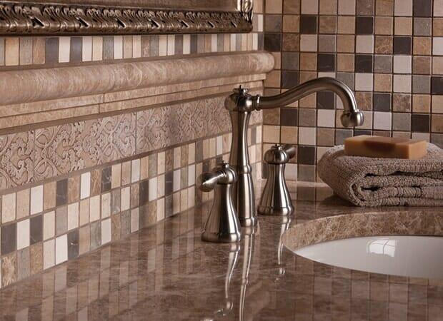 Bathroom tile backsplash sink in Hope Mills NC from Carolina Carpet and Floors