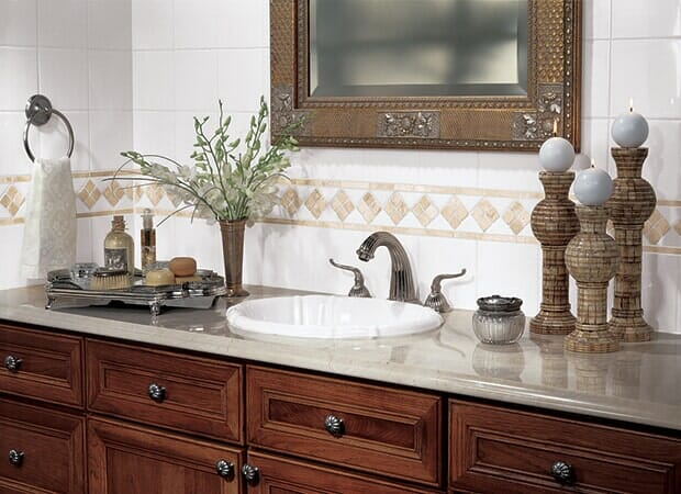 Bathroom tile backsplash in Fayetterville NC from Carolina Carpet and Floors