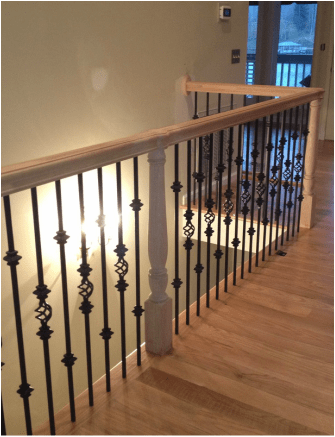 Oak Stair System with Iron Balusters