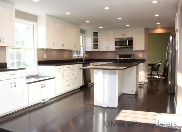 After Hardwood Flooring white cabinets bar_island
