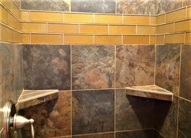 Gold shower tile in Red Lodge, MT from Covering Broadway
