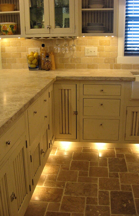 Natural stone kitchen floor in Roberts, MT from Covering Broadway