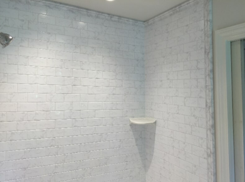 Shower tile installation by All Surface Flooring servicing Wildwood MO