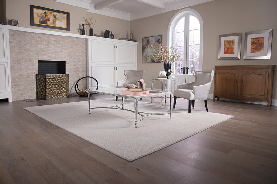 Area rug in white