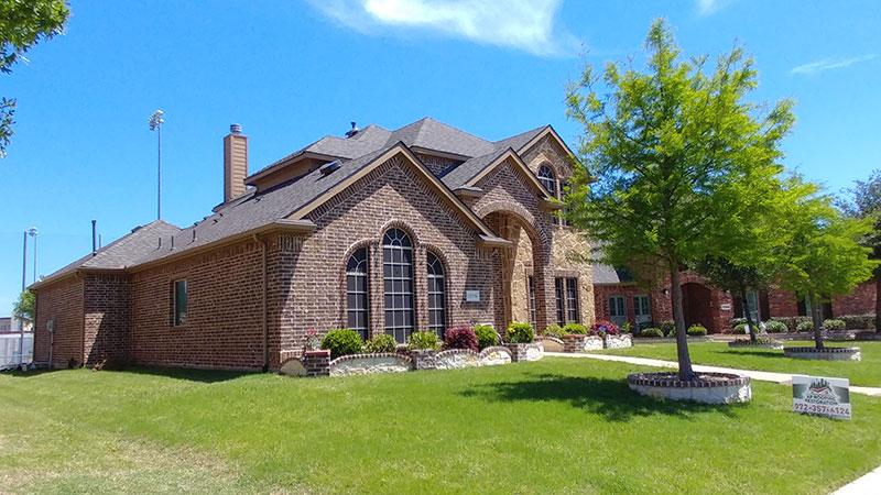 Brown shingles on a house
