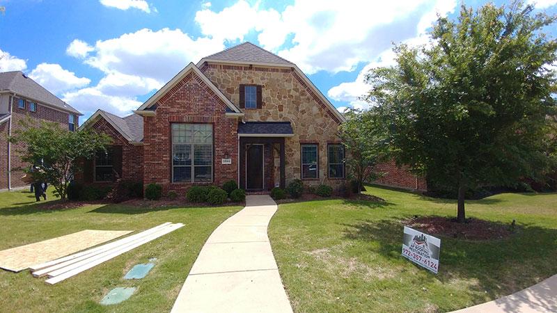 Brand-new shingles on a house
