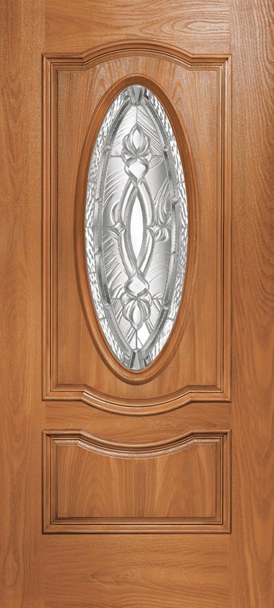 Barrington Oak 2 Panel Double Arch Door Oval with BR3 Glass