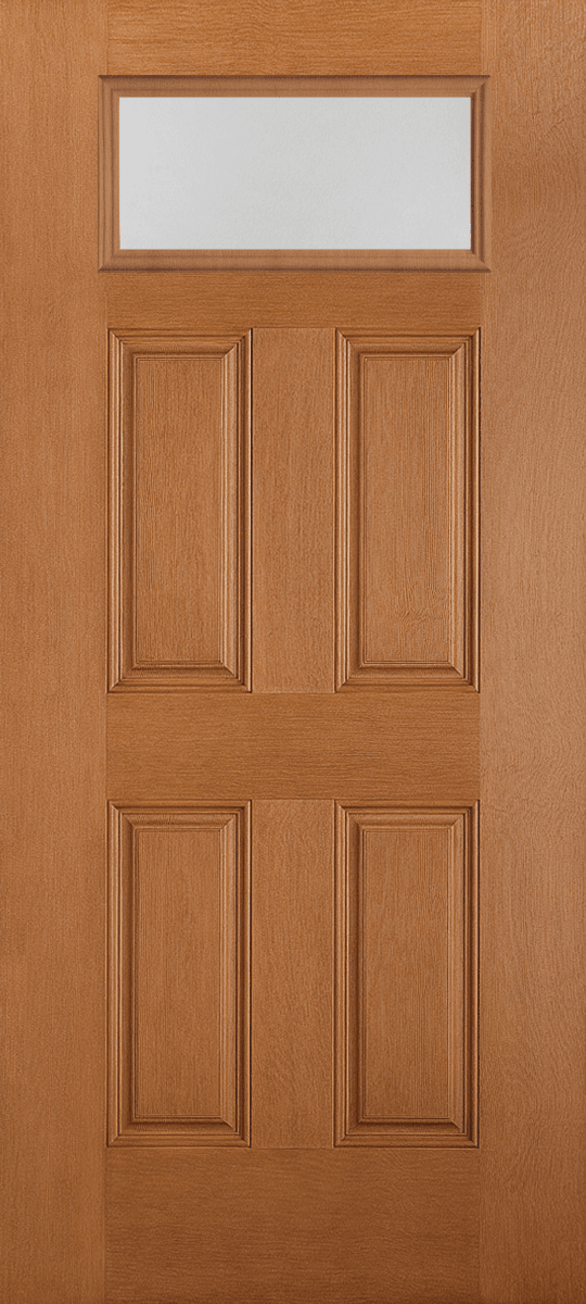 Belleville Fir Textured 4 Panel Door Rectangle Lite with Pear Glass