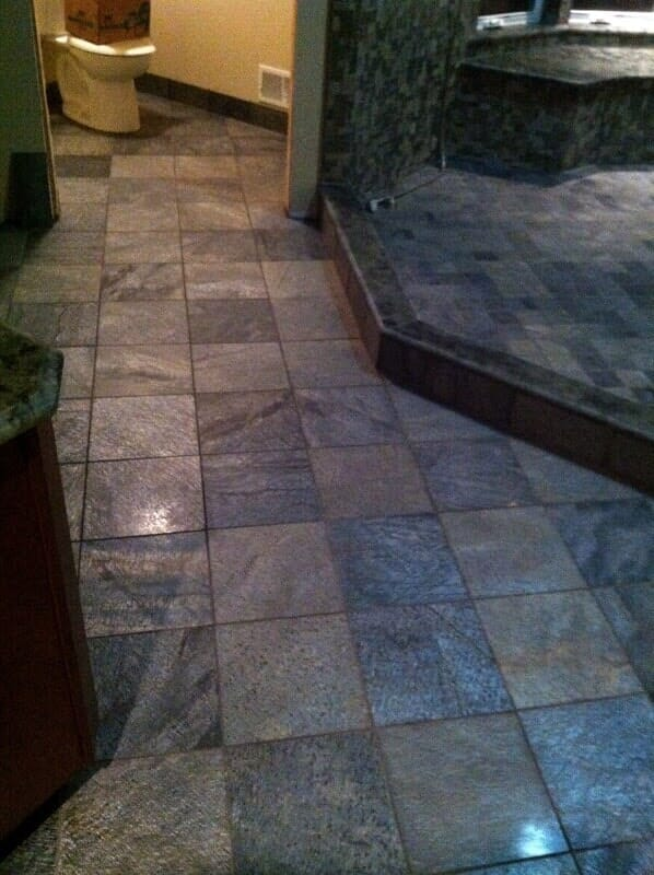 Commercial tile floor installation in Spencerport NY by Christian Flooring