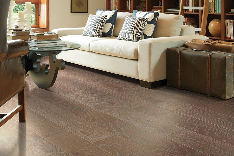 Hardwood flooring for living room from Vern's Carpet near Fertile MN