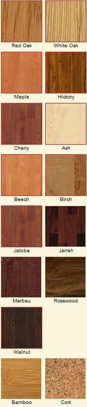 Hardwood floor species