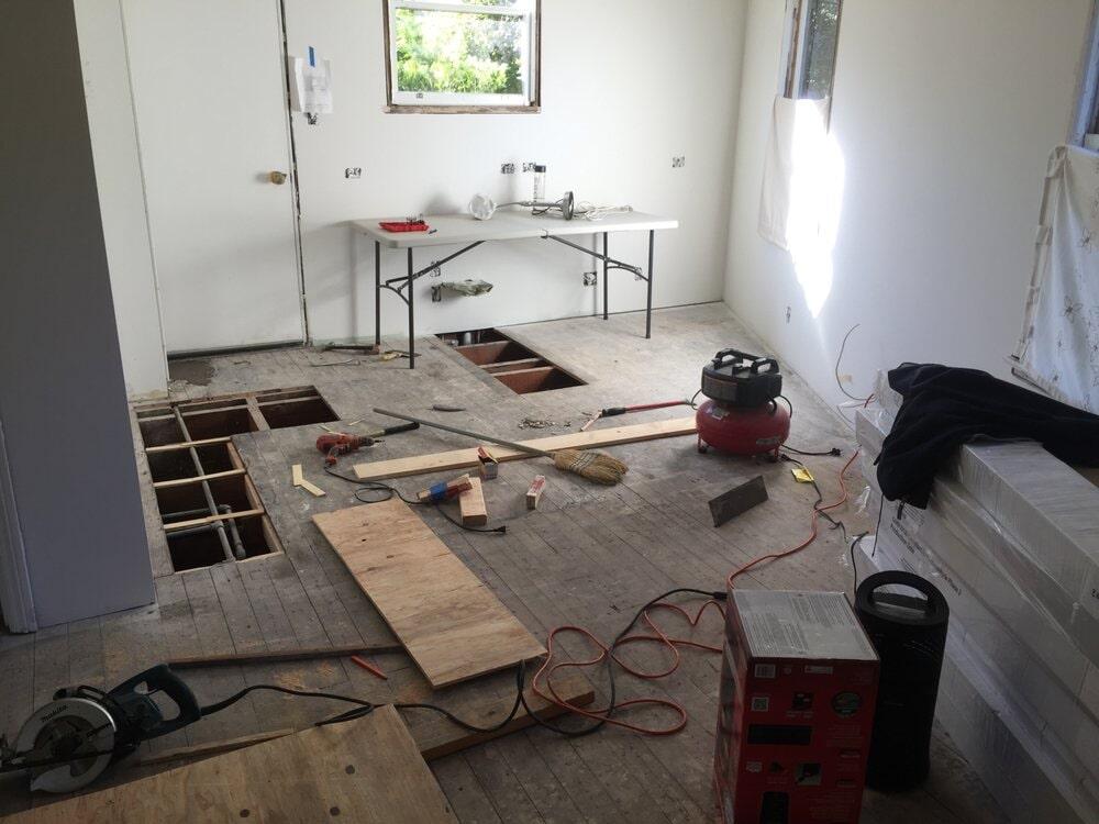 Subfloor repair before installation in San Mateo, CA by Luxor Floors Inc.