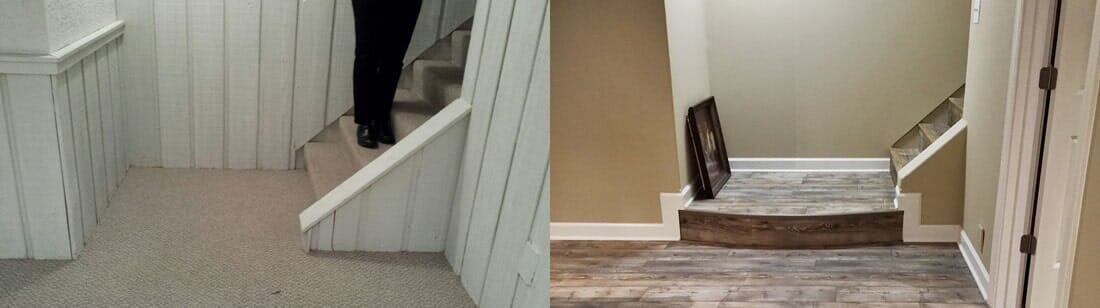Before and after flooring from Sherlock's Carpet & Tile in Tinley Park, IL