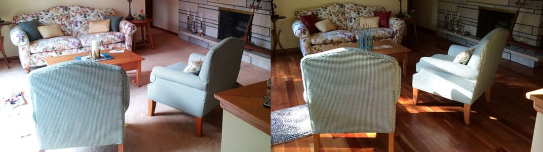 Before and after living room from Sherlock's Carpet & Tile in Frankfort, IL