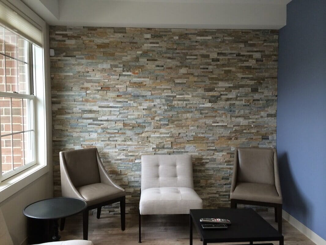 Stone wall from Sherlock's Carpet & Tile in New Lenox, IL