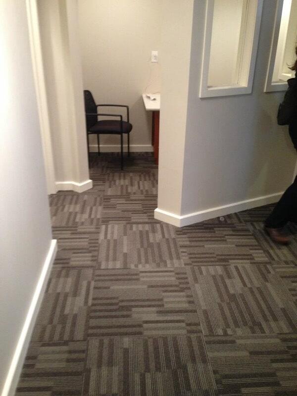 Mohawk carpet installation in reception of Dr. Vargas - Chappaqua Smiles.