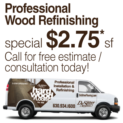 Wood floor refinishing sale in La Grange IL from Desitter Flooring