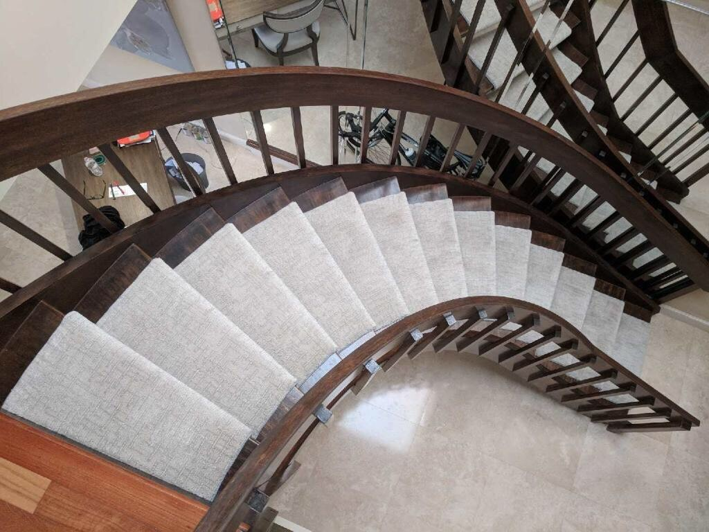 Carpet runner installation from Capitol Carpet & Tile and Window Fashions in Delray Beach, FL