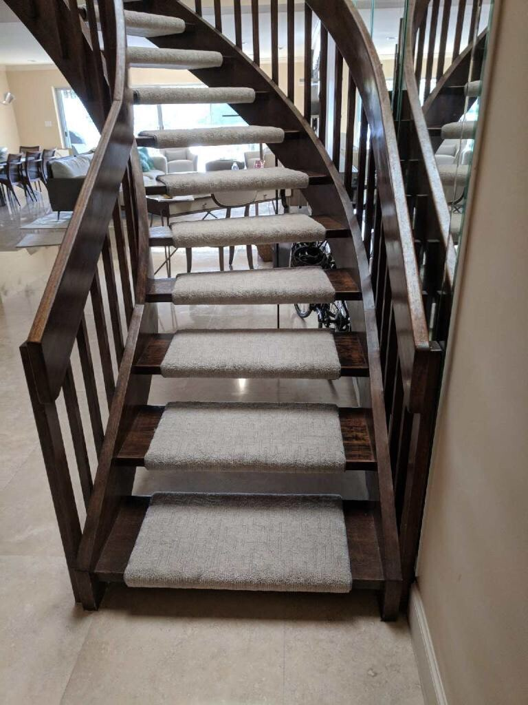 Custom stair runners from Capitol Carpet & Tile and Window Fashions in Boynton Beach, FL
